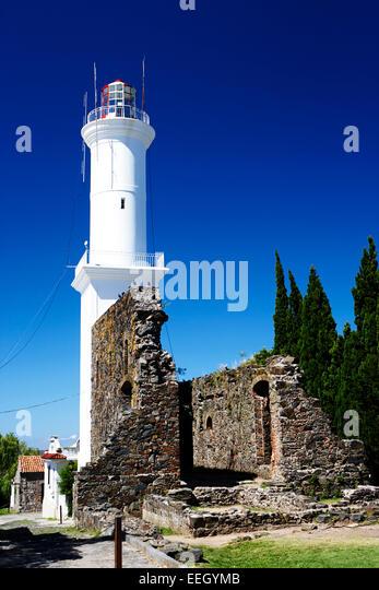 ruins of san francisco convent and lighthouse Barrio Historico Colonia Del Sacramento Uruguay South America - Stock Image