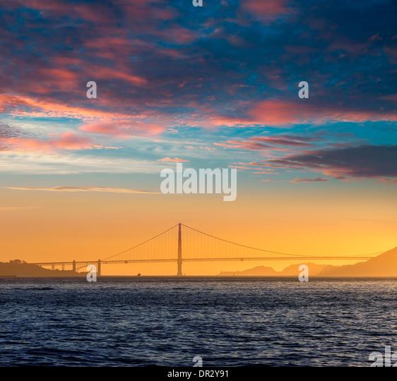 Golden Gate bridge sunset in San Francisco California USA - Stock Image