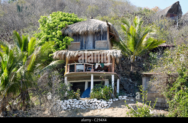 Beach Shack Mazunte Oaxaca State Mexico - Stock Image