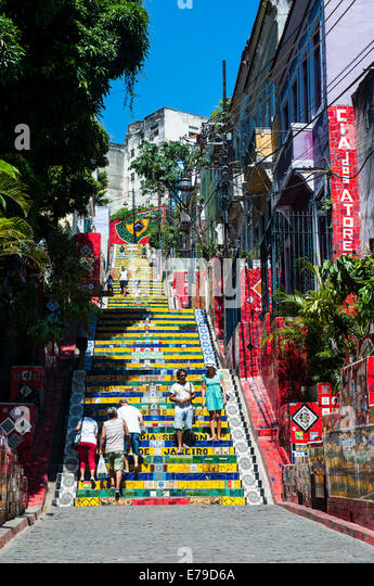 Escadaria Selarón steps in Lapa, Rio de Janeiro, Brazil - Stock Image