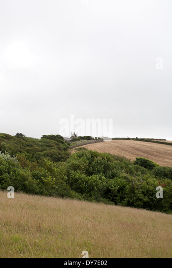 A view across the hills around Crackington Haven on an overcast day - Stock Image
