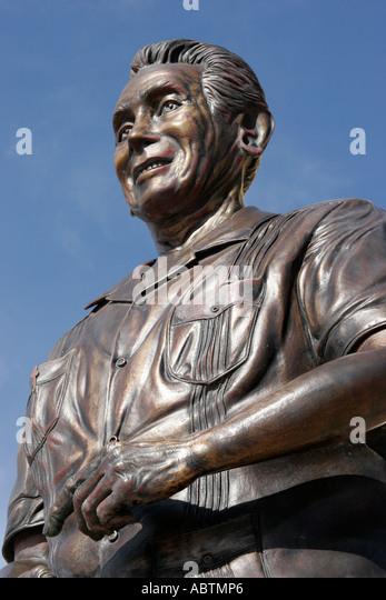 Sint Maarten Dutch Philipsburg Dr. Albert Claudius Wathey statue politician - Stock Image