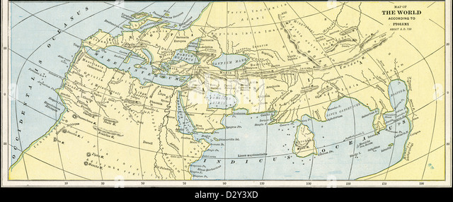 1889 print, Map of the World According to Ptolemy About A.D. 150. - Stock-Bilder