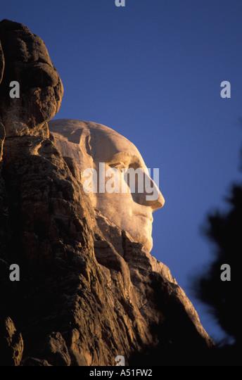 South Dakota Mount Rushmore National Memorial president George Washington stone carving hed closeup profile - Stock Image