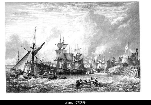 mouth of the yarm Ship shipping boat sail sailing mast deck port harbor dock dockyard merchant trade trading rig - Stock Image