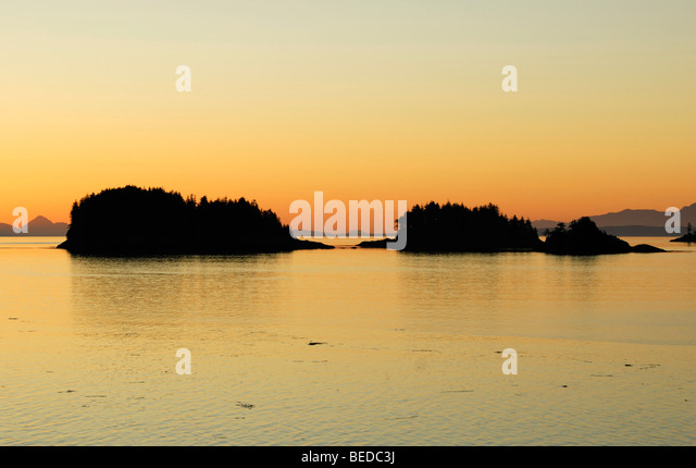 Group of islands near Port Hardy before sunrise, Inside Passage, Vancouver Island, Canada, North America - Stock Image