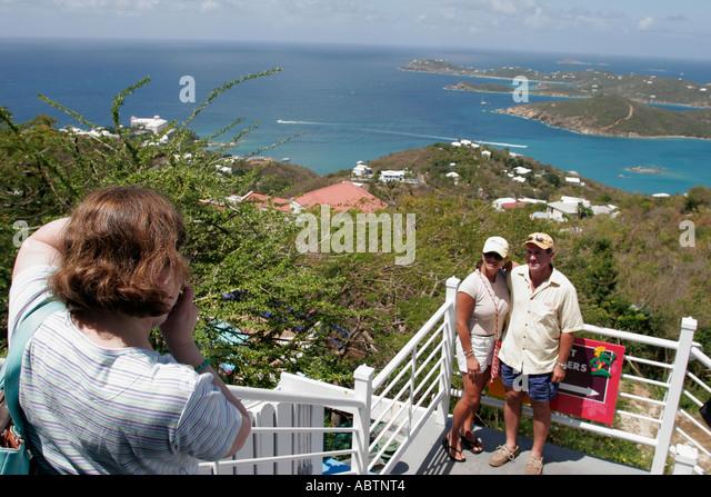St. Thomas USVI Paradise Point couple pose for photo Charlotte Amalie Harbor Caribbean Sea - Stock Image