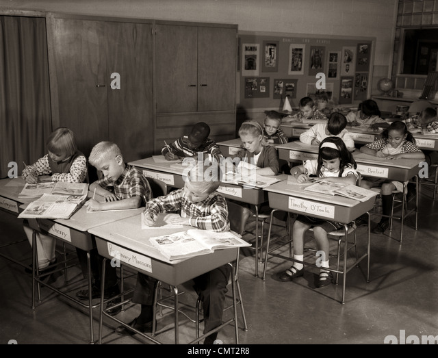 Elementary Classrooms Writing ~ S group grade school children stock photos
