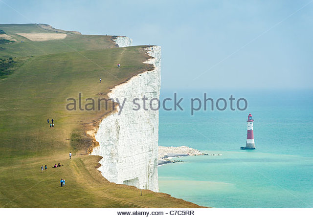 The South Downs Way at Beachy Head, on the Seven Sisters cliffs, South Downs National Park - Stock Image