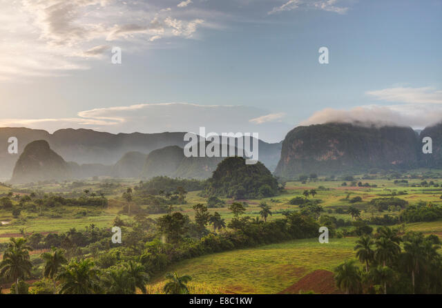 mogotes  in the evening landscape of Vinales, Pinar del Rio province, Cuba - Stock Image