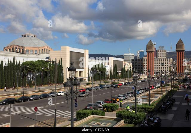 Spain, Catalonia, Barcelona, Av. de la Reina Maria Cristina, skyline, - Stock Image
