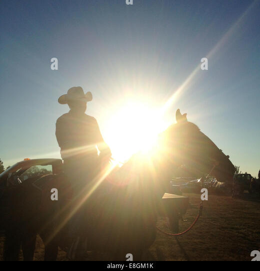 USA, Washington DC, Silhouette of a cowboy on horse - Stock Image