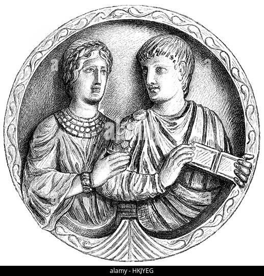 Flavius Stilicho or Stilico, c. 359-408, a high-ranking general Roman army, with his wife Serena - Stock-Bilder