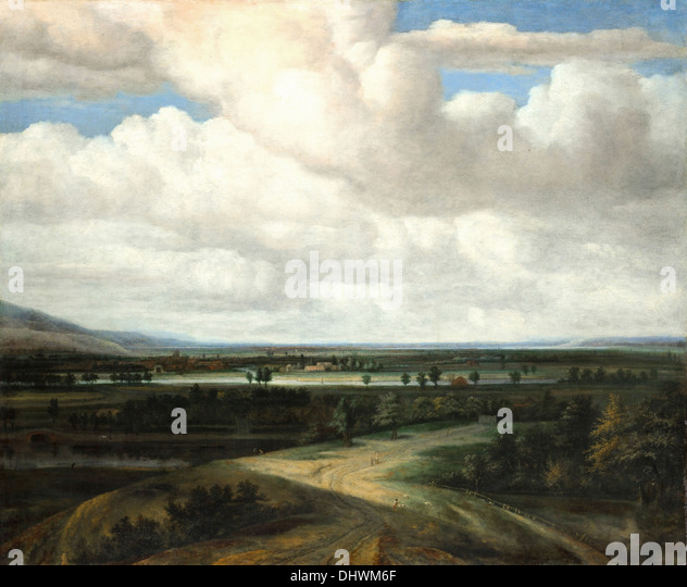 A Panoramic Landscape with a Country Estate - by Philips Koninck, 1649 - Stock Image