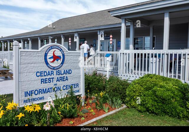North Carolina NC Cedar Island Outer Banks Ferry Terminal Information Center exterior sign - Stock Image