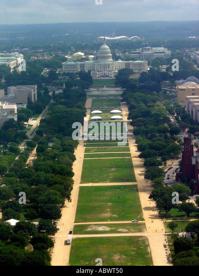 Aerial View of The City of Washington DC USA Including The Capitol Building Copy Space - Stock Image