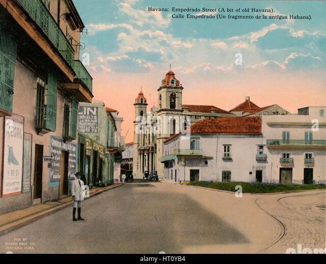 Calle Empedrado, Old Havana, Cuba, c1920. Artist: Unknown. - Stock Image
