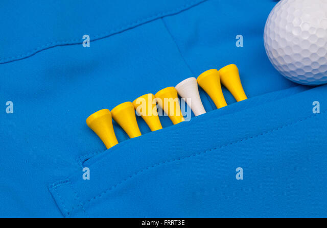 Detail of blue trousers  and golf equipments - Stock-Bilder