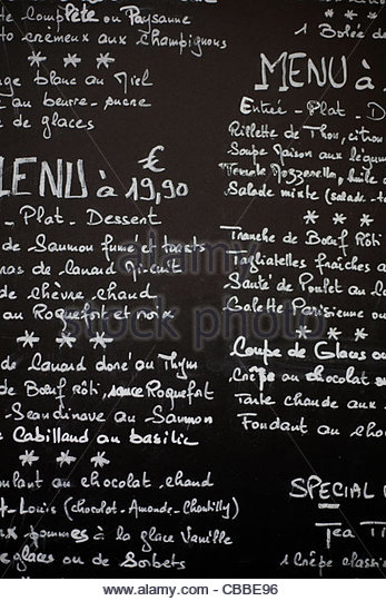 French cafe menu - Stock-Bilder