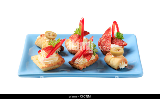 Canapes snacks finger stock photos canapes snacks finger for Types of canape bases