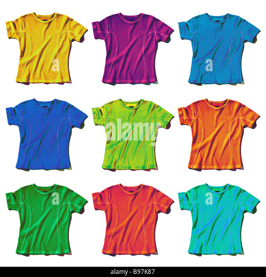 9 coloured t-shirts - Stock Image