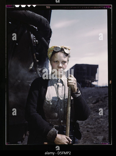 C. & N.W. R.R., Mrs. Irene Bracker, mother of two children, employed at the roundhouse as a wiper, Clinton, - Stock Image