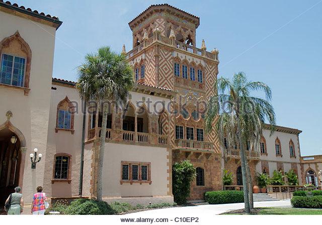 Sarasota Florida John and & Mable Ringling Museum of Art estate Ca d' Zan Mansion Venetian Gothic architecture - Stock Image