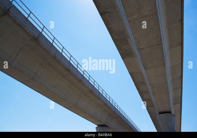Low angle view of elevated roadway - Stock Image