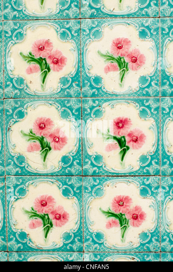 A variety of oriental tiles design is found in Penang, malaysia. - Stock-Bilder