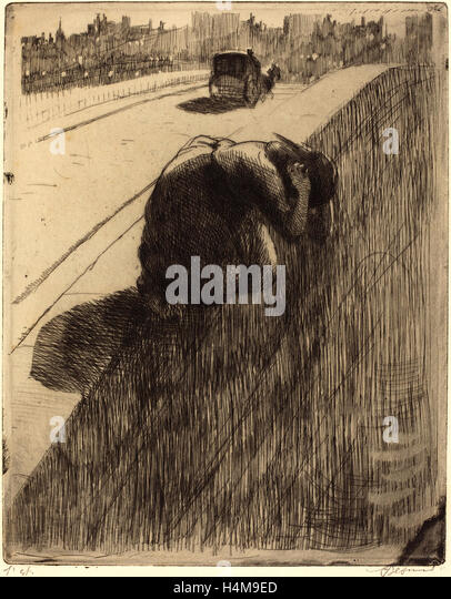 Albert Besnard, French (1849-1934), The Suicide (Le Suicide), c. 1886, etching in black with plate tone on laid - Stock-Bilder