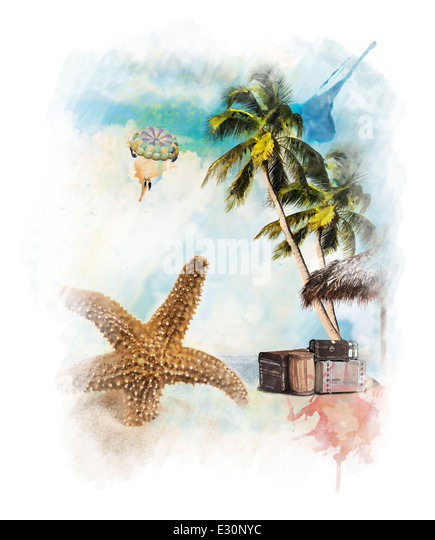 Watercolor Digital Painting Of Vacation Theme - Stock-Bilder