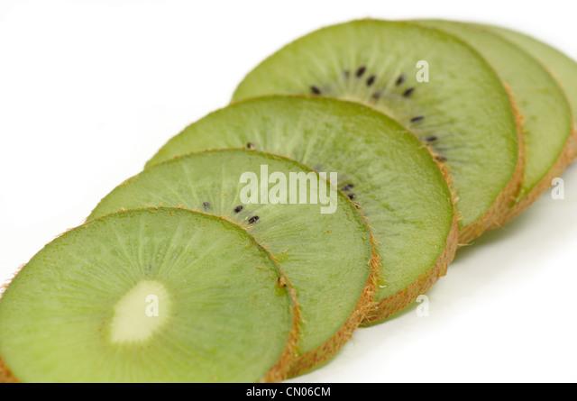 kiwi fruit, isolated on the white background. macro - Stock Image