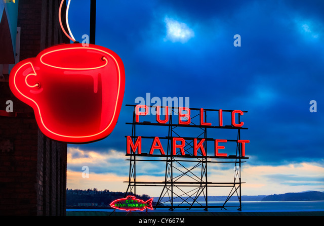 Neon signs at Pike Place Market in Seattle - Stock Image