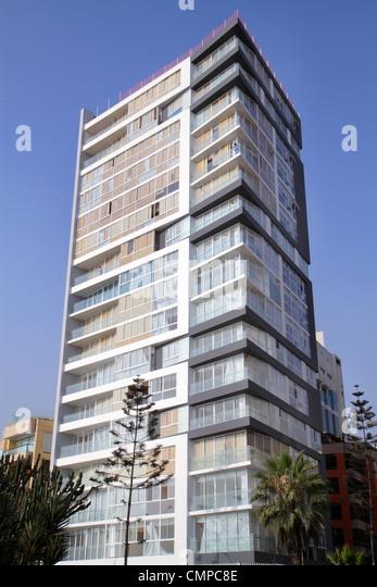 Lima Peru Miraflores Malecon de la Reserva upscale neighborhood oceanfront apartments flats condos high-rise building - Stock Image
