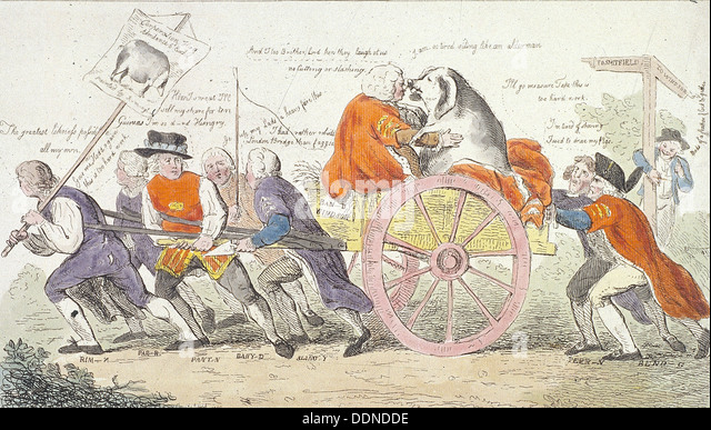 'The Corporation hog's journey to Smithfield in stile or aldermen turned pig show men., 1790. Artist: Isaac - Stock Image