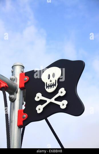 Comic Jolly Roger flag - Stock Image