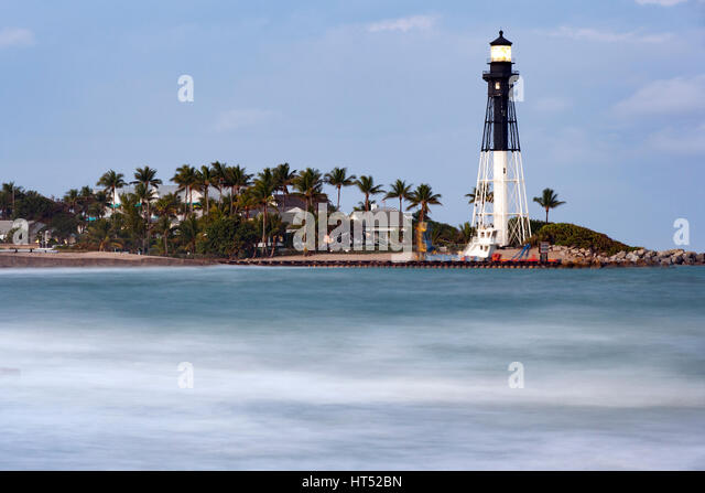 Hillsboro Inlet Lighthouse - Pompano Beach, Florida USA - Stock Image