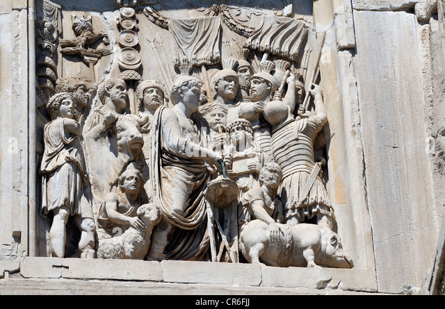 Relief on the Arco di Costantino, Arch of Constantine, Rome, Lazio, Italy, Europe - Stock Image