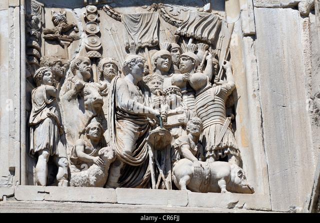 Relief on the Arco di Costantino, Arch of Constantine, Rome, Lazio, Italy, Europe - Stock Image