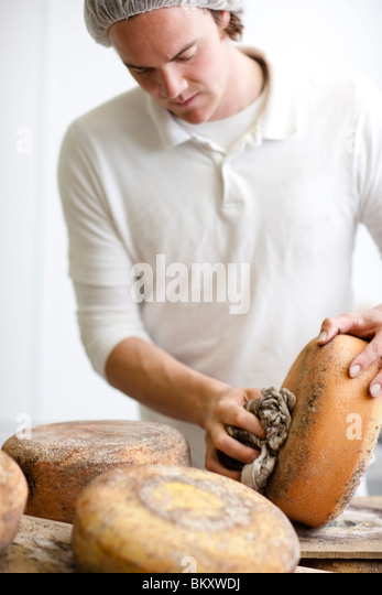 Portrait of a man rubbing off cheese mold - Stock-Bilder