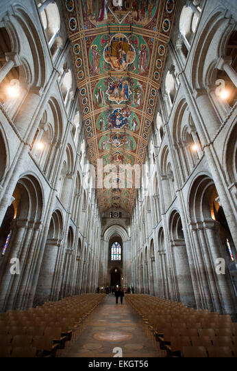 The Nave of Ely Cathedral, Cambridgeshire, built by the Normans in 1090. The nave is 2248ft. (76 metres) long. - Stock Image