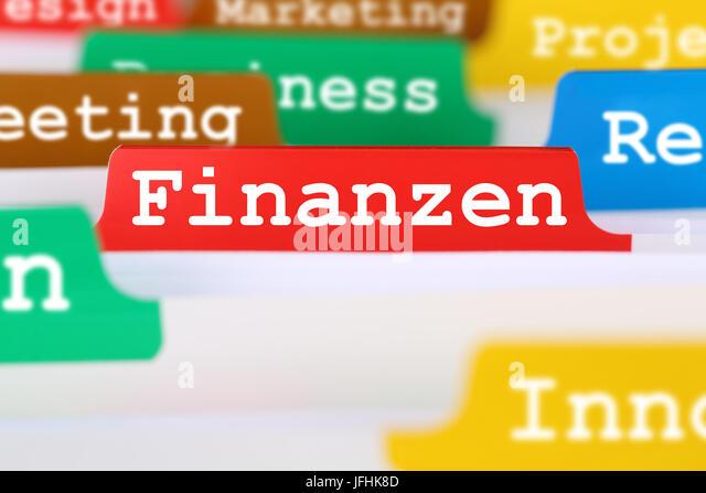 Finanzen einer Firma Business Konzept Register auf Dokumente - Stock Image