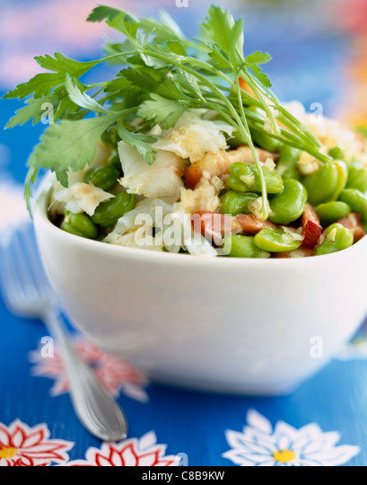 Cod, broad bean and parsley salad - Stock-Bilder