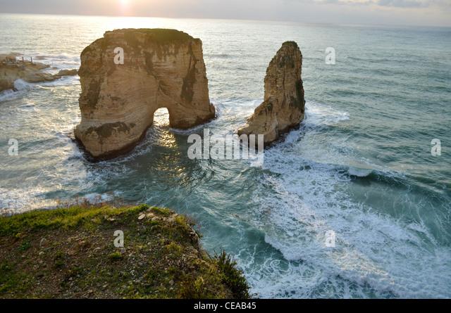 Pigeons' Rock in Beirut, Lebanon - Stock Image