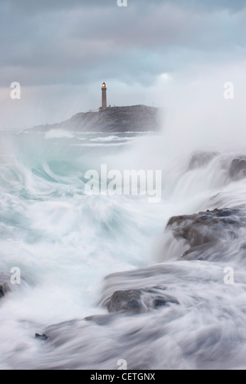 Ardnamurchan Lighthouse. The light tower soars to 36 metres above the rocks, and was built in 1849 using granite - Stock Image