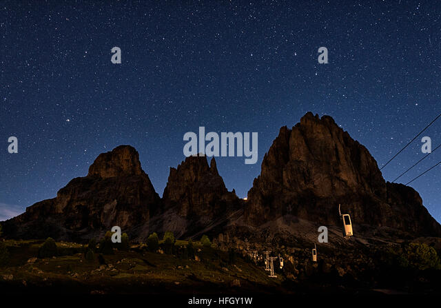 A summer evening at the Sella Pass, Dolomites - Stock Image