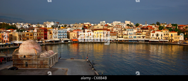 Panoramic view of the old Venetian harbor of Chania town (early morning take), Crete island, Greece. - Stock Image