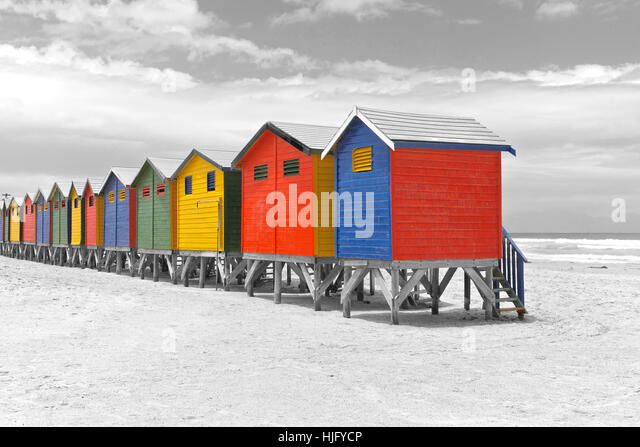 Row of painted beach huts in Cape Town, South Africa - Stock Image