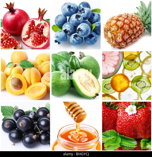 collection of images on the theme of 'fruits' - Stock Image