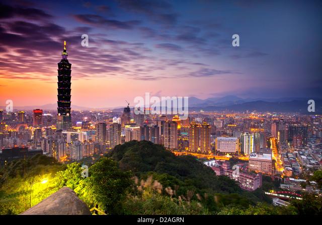 Taipei night scene with Taipei101 for adv or others purpose use - Stock Image